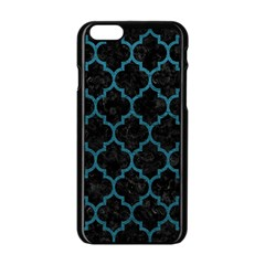 Tile1 Black Marble & Teal Leather (r) Apple Iphone 6/6s Black Enamel Case by trendistuff