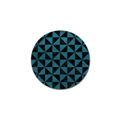 Triangle1 Black Marble & Teal Leather Golf Ball Marker (4 Pack) by trendistuff