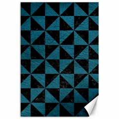 Triangle1 Black Marble & Teal Leather Canvas 12  X 18   by trendistuff