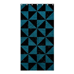 Triangle1 Black Marble & Teal Leather Shower Curtain 36  X 72  (stall)  by trendistuff