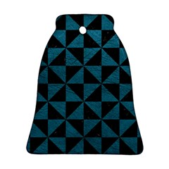 Triangle1 Black Marble & Teal Leather Bell Ornament (two Sides) by trendistuff