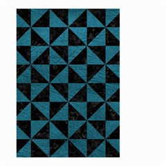 Triangle1 Black Marble & Teal Leather Small Garden Flag (two Sides)