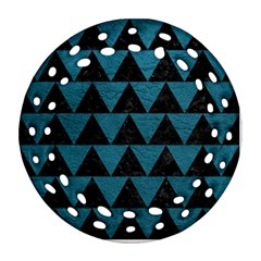 Triangle2 Black Marble & Teal Leather Ornament (round Filigree) by trendistuff