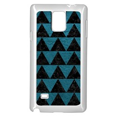 Triangle2 Black Marble & Teal Leather Samsung Galaxy Note 4 Case (white) by trendistuff