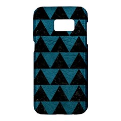 Triangle2 Black Marble & Teal Leather Samsung Galaxy S7 Hardshell Case  by trendistuff