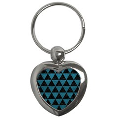 Triangle3 Black Marble & Teal Leather Key Chains (heart)  by trendistuff
