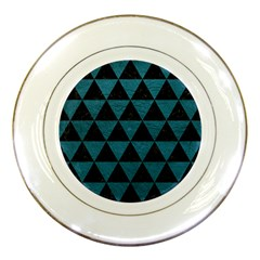 Triangle3 Black Marble & Teal Leather Porcelain Plates by trendistuff