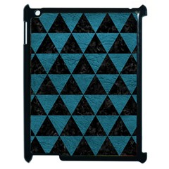 Triangle3 Black Marble & Teal Leather Apple Ipad 2 Case (black) by trendistuff