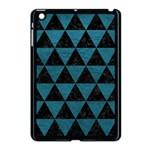TRIANGLE3 BLACK MARBLE & TEAL LEATHER Apple iPad Mini Case (Black) Front