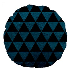 Triangle3 Black Marble & Teal Leather Large 18  Premium Round Cushions by trendistuff