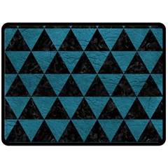 Triangle3 Black Marble & Teal Leather Double Sided Fleece Blanket (large)  by trendistuff