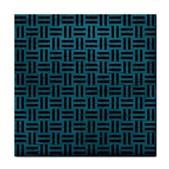Woven1 Black Marble & Teal Leather Tile Coasters by trendistuff