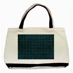 Woven1 Black Marble & Teal Leather Basic Tote Bag by trendistuff