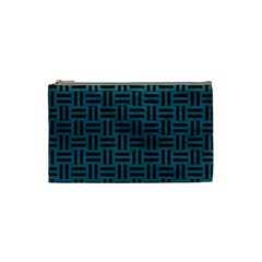 Woven1 Black Marble & Teal Leather Cosmetic Bag (small)  by trendistuff