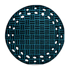 Woven1 Black Marble & Teal Leather Ornament (round Filigree) by trendistuff
