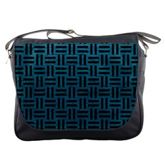 Woven1 Black Marble & Teal Leather Messenger Bags by trendistuff