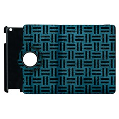 Woven1 Black Marble & Teal Leather Apple Ipad 3/4 Flip 360 Case by trendistuff