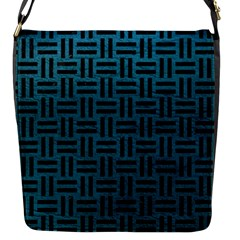 Woven1 Black Marble & Teal Leather Flap Messenger Bag (s) by trendistuff