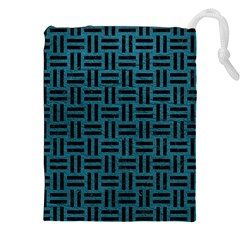 Woven1 Black Marble & Teal Leather Drawstring Pouches (xxl) by trendistuff