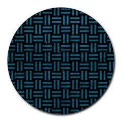 Woven1 Black Marble & Teal Leather (r) Round Mousepads by trendistuff