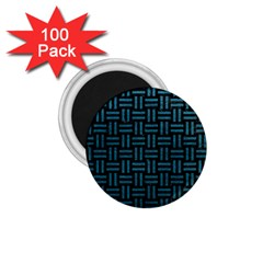 Woven1 Black Marble & Teal Leather (r) 1 75  Magnets (100 Pack)  by trendistuff