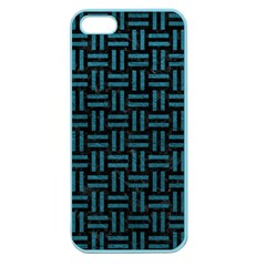 Woven1 Black Marble & Teal Leather (r) Apple Seamless Iphone 5 Case (color)