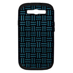 Woven1 Black Marble & Teal Leather (r) Samsung Galaxy S Iii Hardshell Case (pc+silicone) by trendistuff