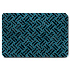 Woven2 Black Marble & Teal Leather Large Doormat  by trendistuff