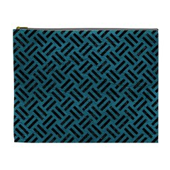 Woven2 Black Marble & Teal Leather Cosmetic Bag (xl) by trendistuff