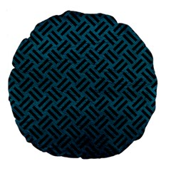 Woven2 Black Marble & Teal Leather Large 18  Premium Flano Round Cushions by trendistuff
