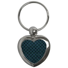 Woven2 Black Marble & Teal Leather (r) Key Chains (heart)  by trendistuff