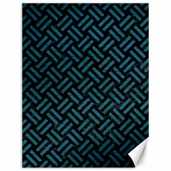 Woven2 Black Marble & Teal Leather (r) Canvas 12  X 16