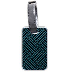 Woven2 Black Marble & Teal Leather (r) Luggage Tags (two Sides) by trendistuff