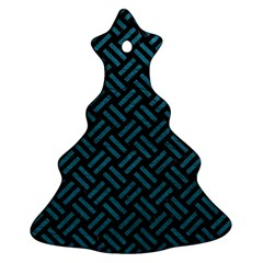 Woven2 Black Marble & Teal Leather (r) Christmas Tree Ornament (two Sides) by trendistuff