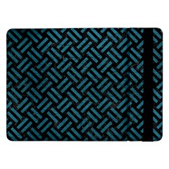 Woven2 Black Marble & Teal Leather (r) Samsung Galaxy Tab Pro 12 2  Flip Case