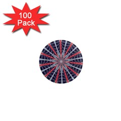 Red White Blue Kaleidoscopic Star Flower Design 1  Mini Magnets (100 Pack)  by yoursparklingshop