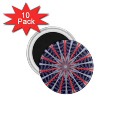 Red White Blue Kaleidoscopic Star Flower Design 1 75  Magnets (10 Pack)  by yoursparklingshop