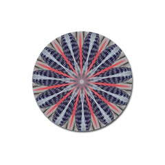 Red White Blue Kaleidoscopic Star Flower Design Magnet 3  (round) by yoursparklingshop