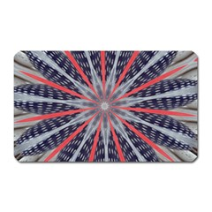 Red White Blue Kaleidoscopic Star Flower Design Magnet (rectangular) by yoursparklingshop
