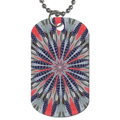 Red White Blue Kaleidoscopic Star Flower Design Dog Tag (two Sides) by yoursparklingshop