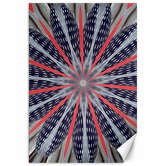 Red White Blue Kaleidoscopic Star Flower Design Canvas 20  X 30   by yoursparklingshop