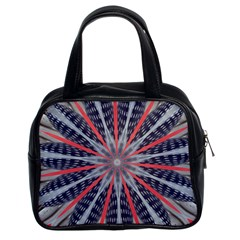 Red White Blue Kaleidoscopic Star Flower Design Classic Handbags (2 Sides) by yoursparklingshop