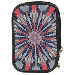 Red White Blue Kaleidoscopic Star Flower Design Compact Camera Cases by yoursparklingshop
