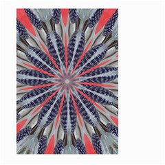 Red White Blue Kaleidoscopic Star Flower Design Large Garden Flag (two Sides) by yoursparklingshop
