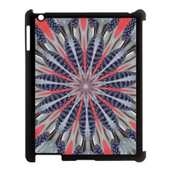 Red White Blue Kaleidoscopic Star Flower Design Apple Ipad 3/4 Case (black) by yoursparklingshop