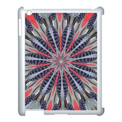 Red White Blue Kaleidoscopic Star Flower Design Apple Ipad 3/4 Case (white) by yoursparklingshop