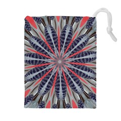 Red White Blue Kaleidoscopic Star Flower Design Drawstring Pouches (extra Large) by yoursparklingshop
