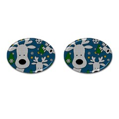 Cute Reindeer  Cufflinks (oval) by Valentinaart