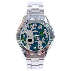 Cute Reindeer  Stainless Steel Analogue Watch by Valentinaart