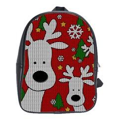 Cute Reindeer  School Bag (large) by Valentinaart